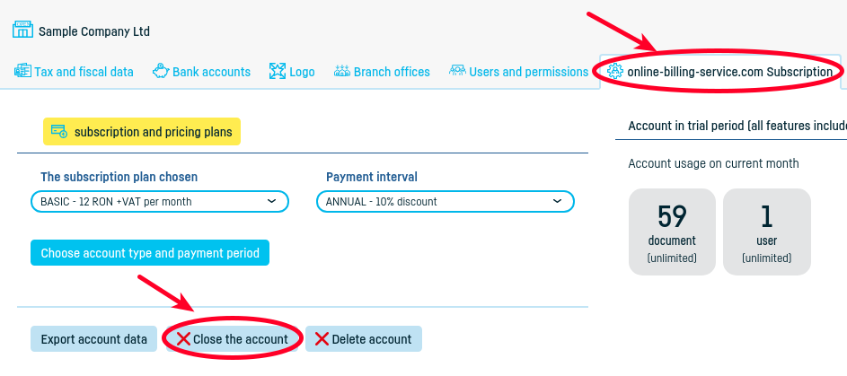 How do I close my account at online billing service? - step 2