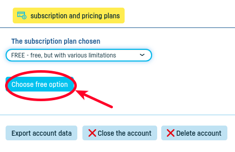 How do I switch to a free subscription? - step 3