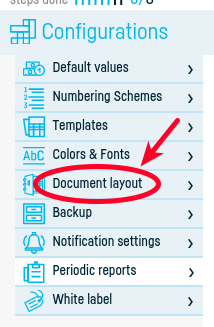 Document layout settings - step 2