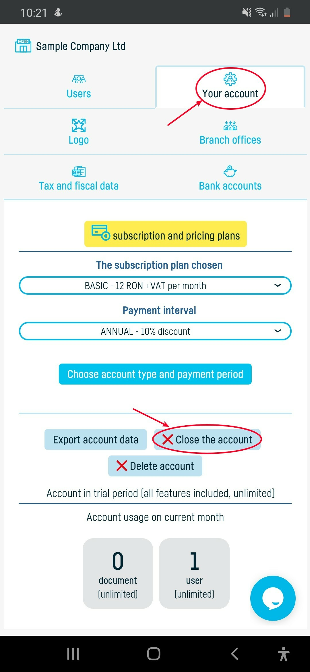 How do I close my account at online-billing-service? - step 2