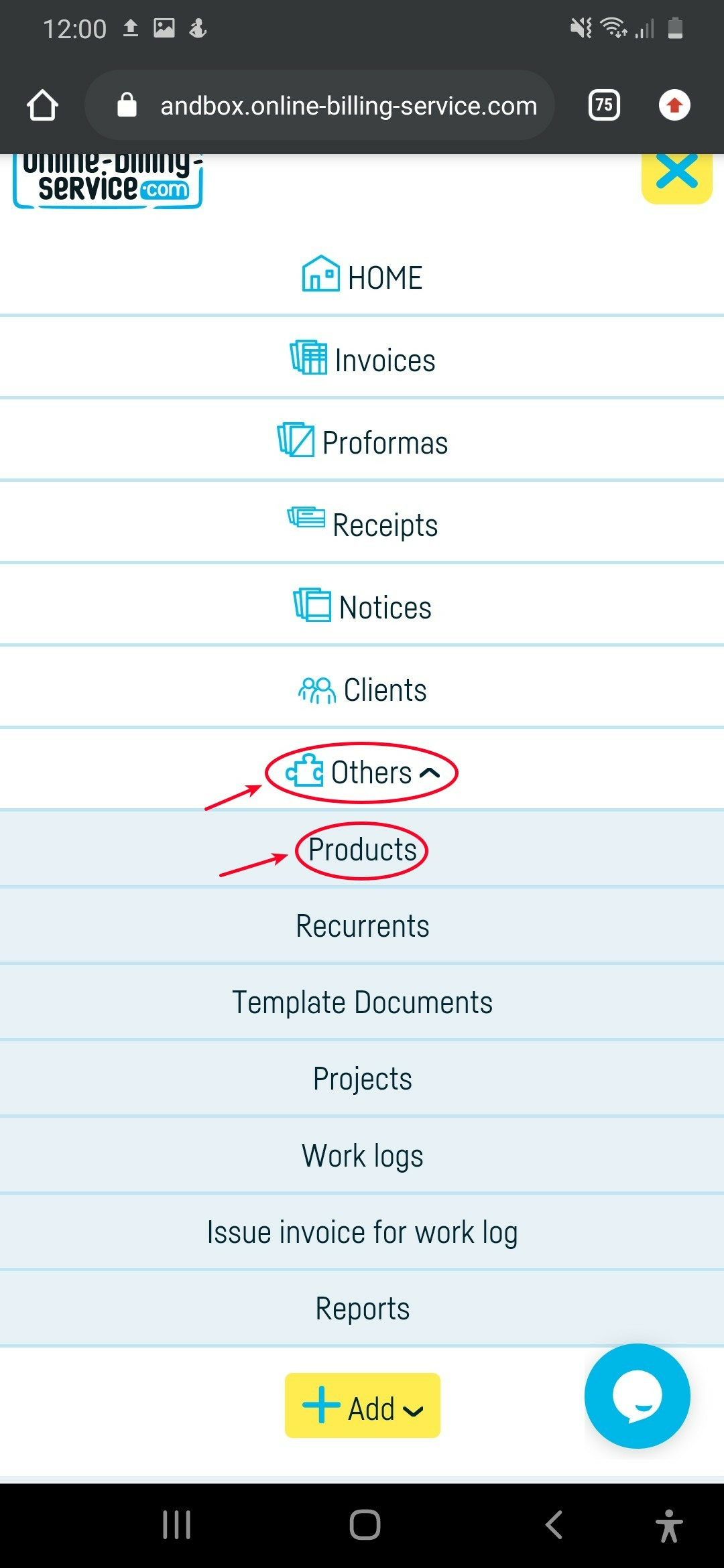 How do I import a product or services list? - step 1