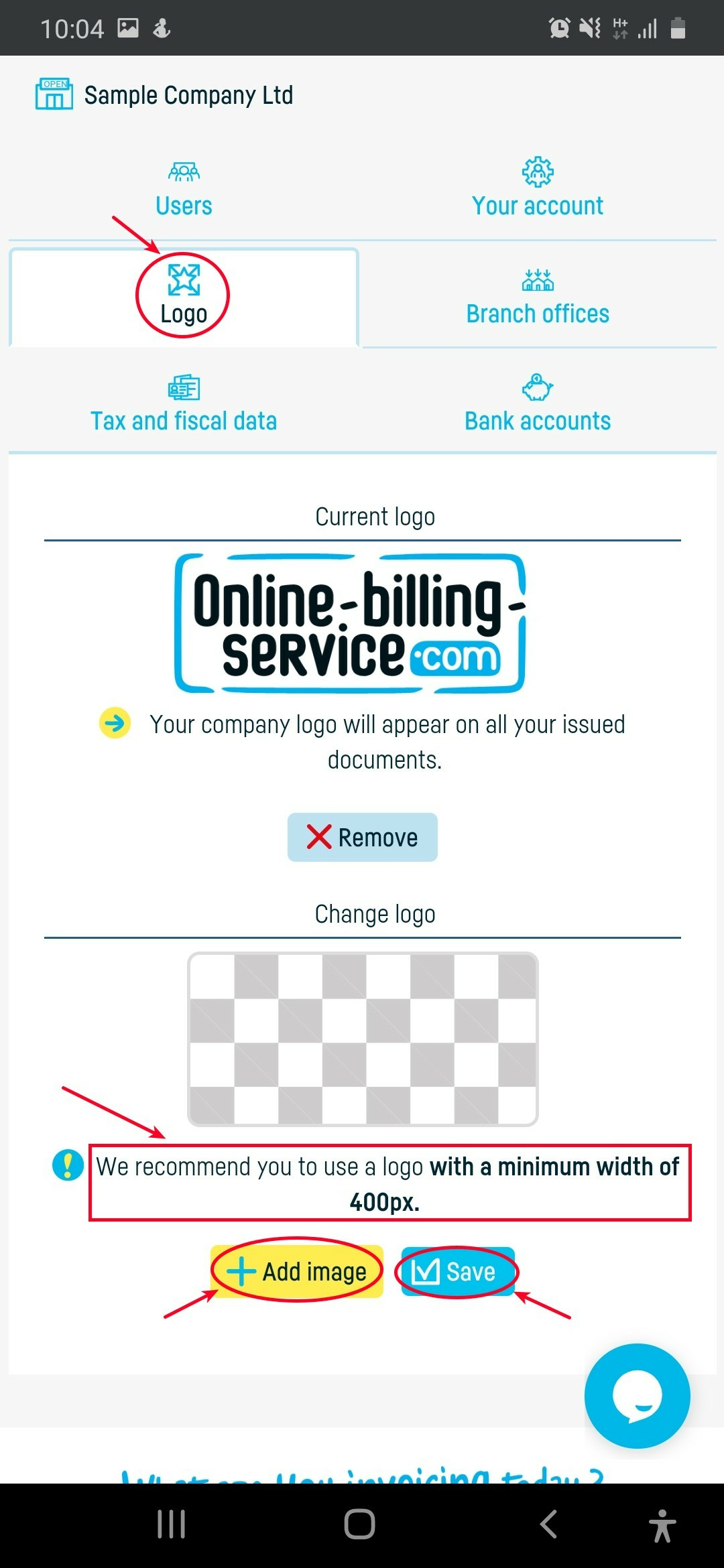 How do I add the company logo on invoices? - step 2
