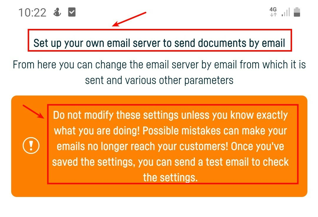 Advanced settings for sending documents by email - step 3