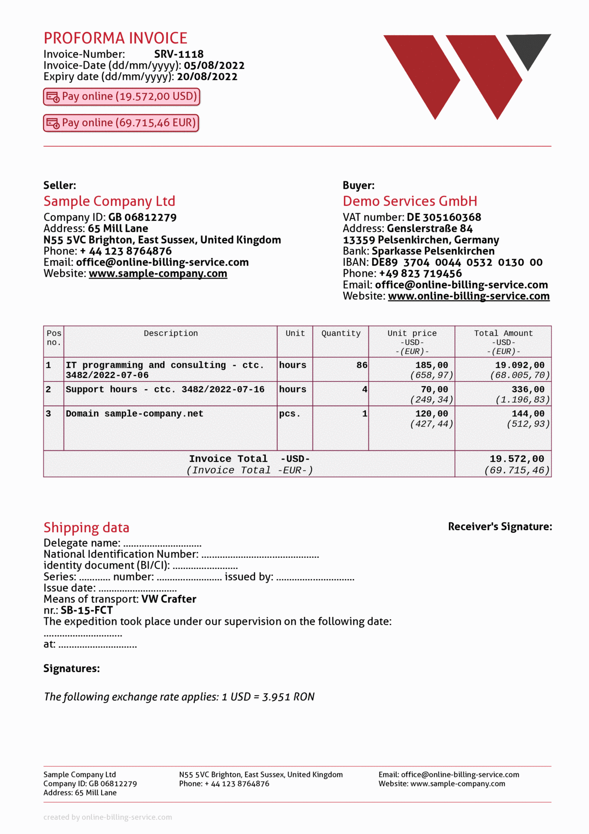 Proforma invoice without vat, usd + eur, english