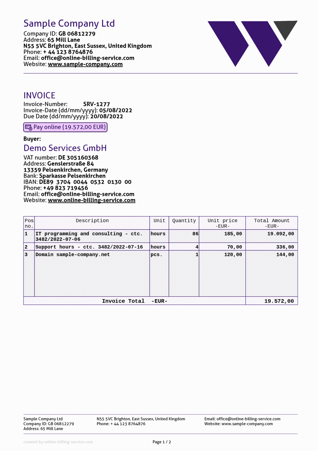 Invoice without vat, eur, english